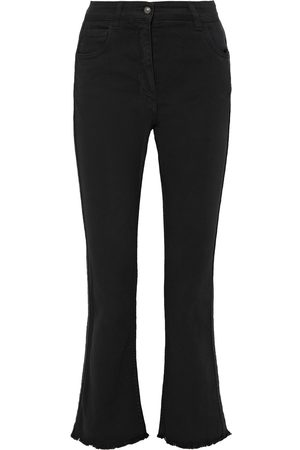 Etro Woman Jacquard-trimmed Frayed High-rise Kick-flare Jeans Size 27