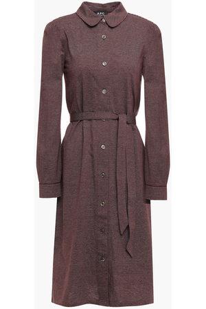 A.P.C. Woman Belted Striped Cotton Shirt Dress Merlot Size L
