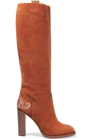 ETRO Women High Leg Boots - Woman Embroidered Suede Knee Boots Tan Size 36