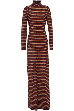 ROSETTA GETTY Woman Striped Stretch-jersey Maxi Turtleneck Dress Multicolor Size L