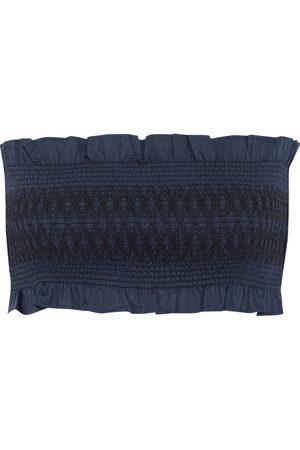 TIBI Woman Cora Cropped Strapless Smocked Cotton Top Navy Size XXS