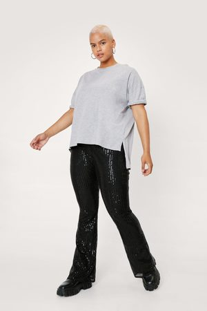 NASTY GAL Women Wide Leg Trousers - Womens Plus Size High Waisted Sequin Flared trousers