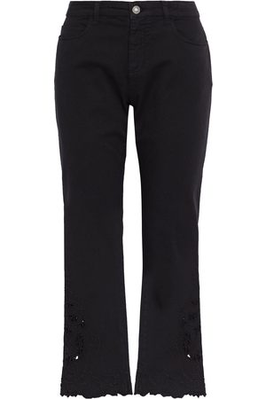 ETRO Women Bootcut - Woman Cropped Broderie Anglaise-trimmed Mid-rise Bootcut Jeans Size 27
