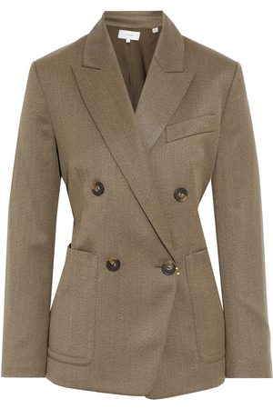 VINCE. Woman Double-breasted Wool-blend Twill Blazer Army Size 10