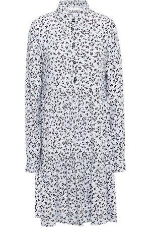 GANNI Woman Tiered Gingham Crepe Mini Dress Sky Size 32