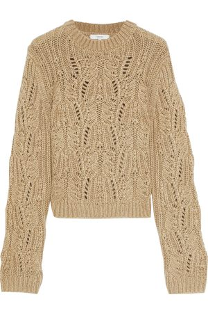 VINCE. Woman Cable-knit Sweater Taupe Size L