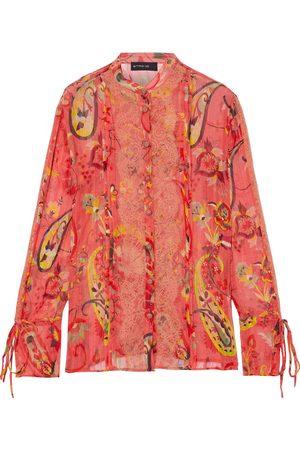 ETRO Women Blouses - Woman Lace-trimmed Pintucked Printed Silk-jacquard Blouse Papaya Size 40