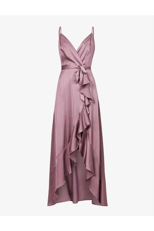 chi chi london Women Evening Dresses - Sleeveless wrap-front satin gown
