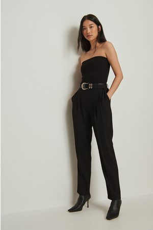 NA-KD Recycled Cropped High Waist Suit Pants - Black