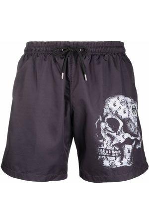 Philipp Plein Monogram skull-print swim shorts