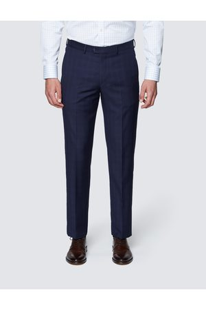 Hawes & Curtis Men's Tonal Check Tailored Fit Italian Suit Trousers in Navy