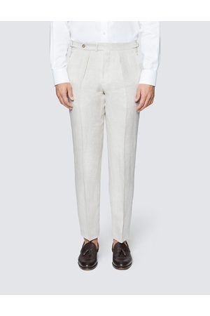 Hawes & Curtis Men's Linen Tailored Fit Pleated Suit Trousers in Cream
