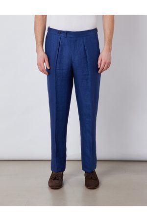 Hawes & Curtis Men's Linen Pleated Tailored Fit Linen Trousers in Royal