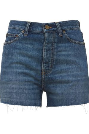 SAINT LAURENT Slim Fit Raw Cut Mini Shorts