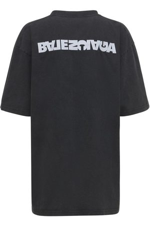 BALENCIAGA Women T-shirts - Embroidered Logo Cotton Jersey T-shirt