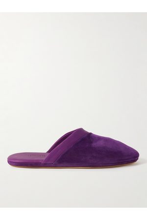 John Lobb Men Slippers - Knighton Leather-Trimmed Suede Slippers