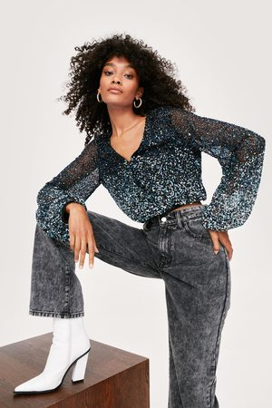 NASTY GAL Womens Icon Beaded Ombre Wrap Blouse 1