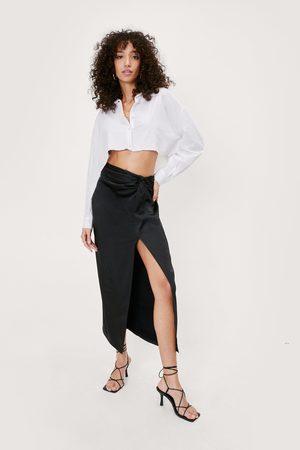 NASTY GAL Womens Satin Midaxi Knot Skirt