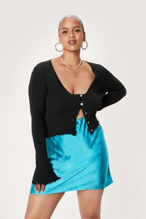 NASTY GAL Womens Plus Size Satin Skater Mini Skirt
