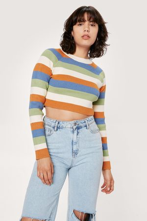 NASTY GAL Womens Striped Colour Block Knitted Long Sleeve Top