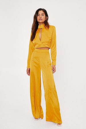 NASTY GAL Womens High Waisted Wide Leg Satin trousers