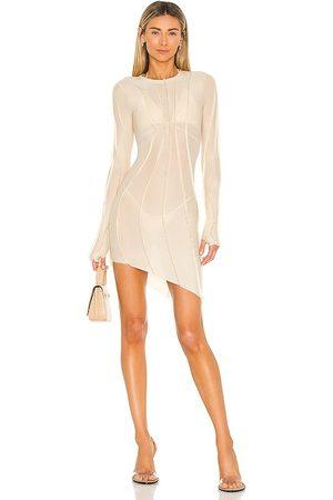 SAMI MIRO VINTAGE Asymmetric Mesh Mini Dress in . Size L, M, S.