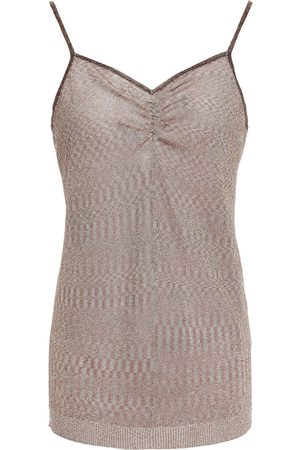 Missoni Woman Gathered Metallic Knitted Top Taupe Size 36