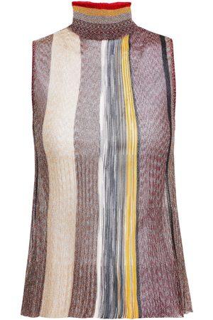 MISSONI Woman Plissé Metallic Striped Knitted Turtleneck Top Size 38