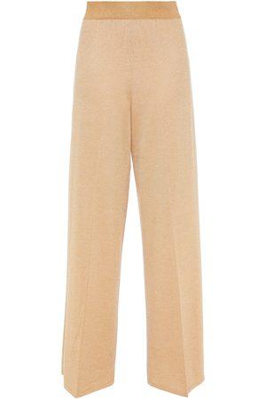 MISSONI Women Wide Leg Trousers - Woman Metallic Wool-blend Wide-leg Pants Size 38