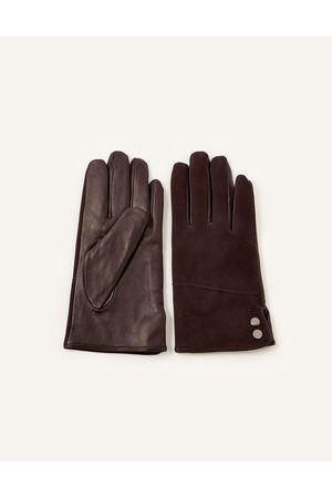 Monsoon (CHOCOLATE) Leather and Suede Gloves , in Size: S / M