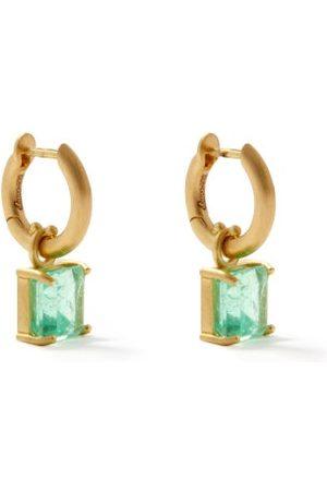 Irene Neuwirth Women Earrings - Emerald & 18kt Gold Hoop Earrings - Womens
