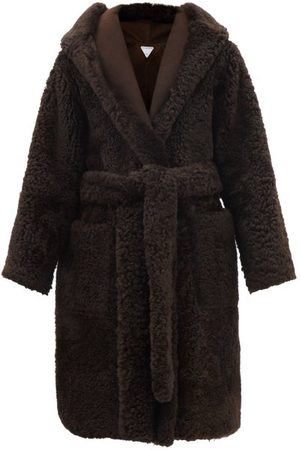 Bottega Veneta Hooded Shearling Wrap Coat - Womens - Dark