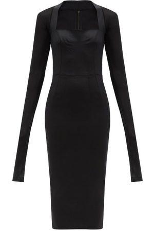 Dolce & Gabbana Women Midi Dresses - Square-neck Crepe And Mesh Midi Dress - Womens