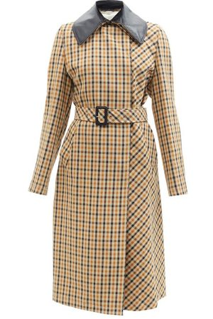WALES BONNER Leather Collar Checked Wool-blend Coat - Womens - Multi