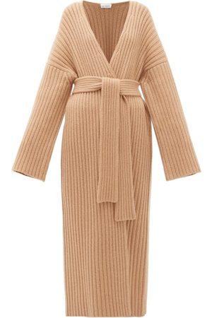 Raey Belted Ribbed-knit Cashmere Maxi Cardigan - Womens