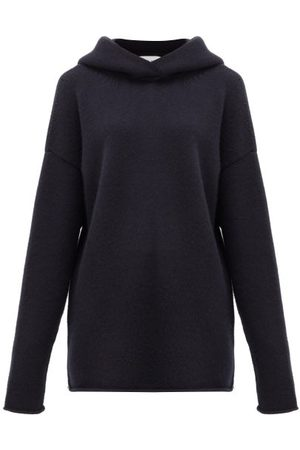 Raey Oversized Knitted Cashmere Hooded Sweatshirt - Womens - Navy