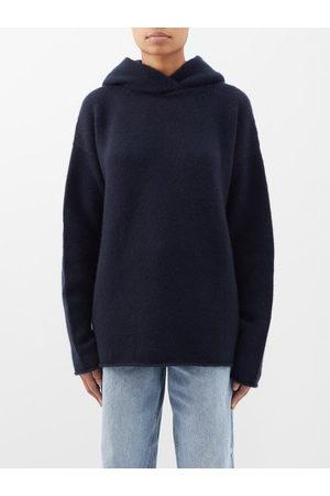 Raey Women Sweatshirts - Oversized Knitted Cashmere Hooded Sweatshirt - Womens - Navy