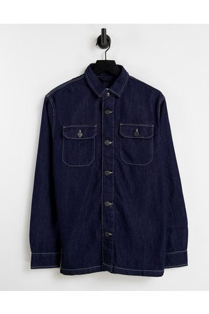Selected Homme Men Denim Jackets - Co-ord denim worker jacket in dark with contrast stitch