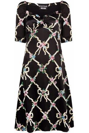 Boutique Moschino Floral argyle satin dress