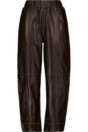 GANNI Women Wide Leg Trousers - Mid-rise wide-leg leather pants