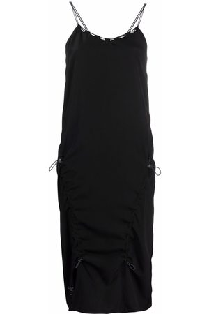 McQ Women Midi Dresses - Drawstring silk midi dress