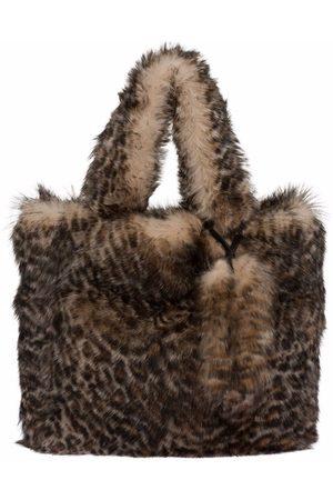 Miu Miu Leopard print shearling tote