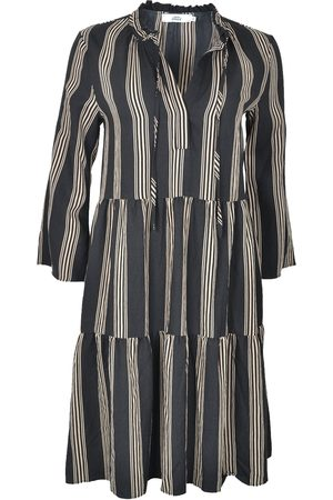 0039 Italy MILLY Tiered Stripe Dress Black & Taupe