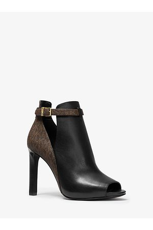 Michael Kors Women Ankle Boots - MK Lawson Logo and Leather Open-Toe Boot - Blk/ - Michael Kors