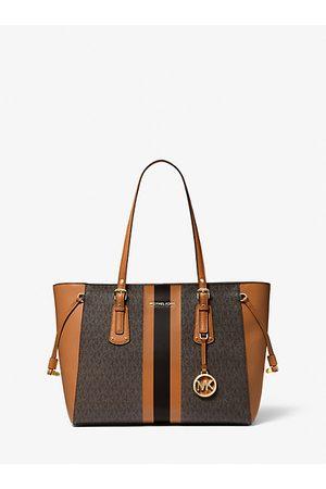 MICHAEL Michael Kors Women Handbags - MK Voyager Medium Logo Stripe Tote Bag - Brn/acorn - Michael Kors