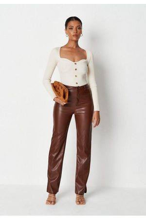 Missguided Chocolate Faux Leather Split Hem Trousers
