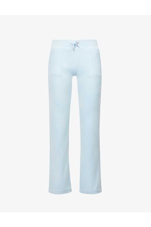Juicy Couture Women Sports Trousers - Logo-embroidered velour jogging bottoms