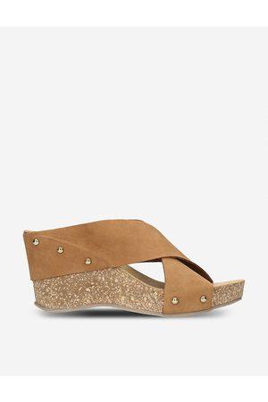 Carvela Comfort Women Wedge Sandals - Sooty suede and cork wedge sandals