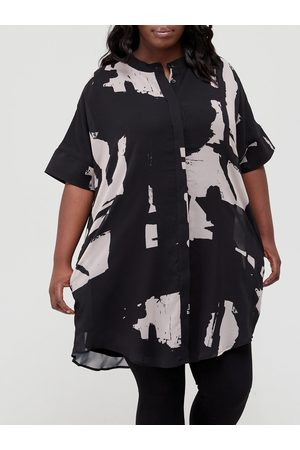 Religion Plus Size Abstract Print Shirt Dress