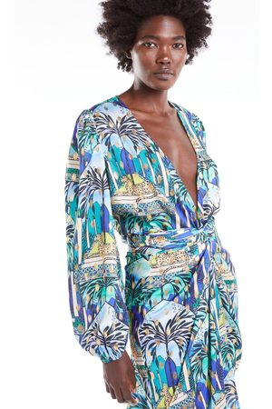Never Fully Dressed Blue Gaia Wrap Top With Gold Fleck